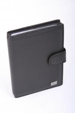 0030053 Обложка для документов черная кожаная